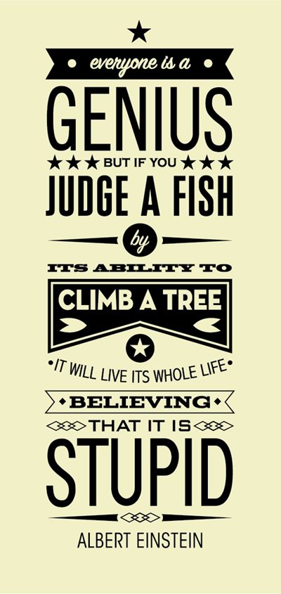 Einstein Quote Genius Fish Tree