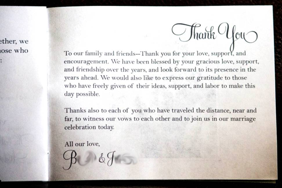 Wedding Gift Thank You Message For Money : Wedding Program Remembrance Wording In remembrance quotes for wedding ...